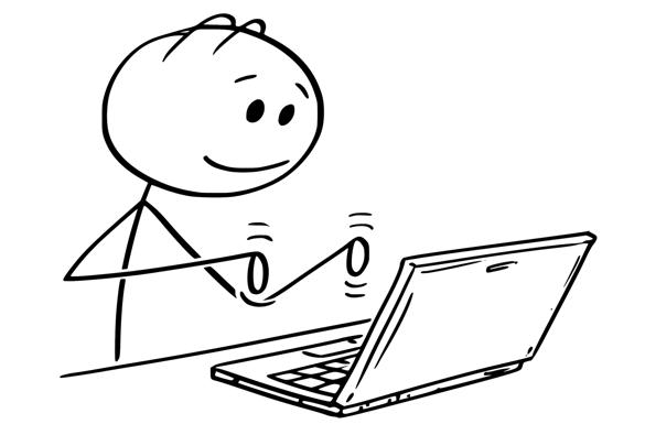stick figure typing on laptop