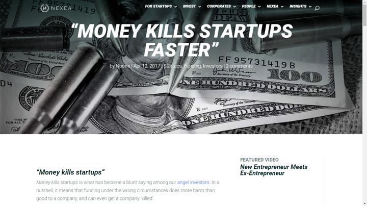 money kills startups article