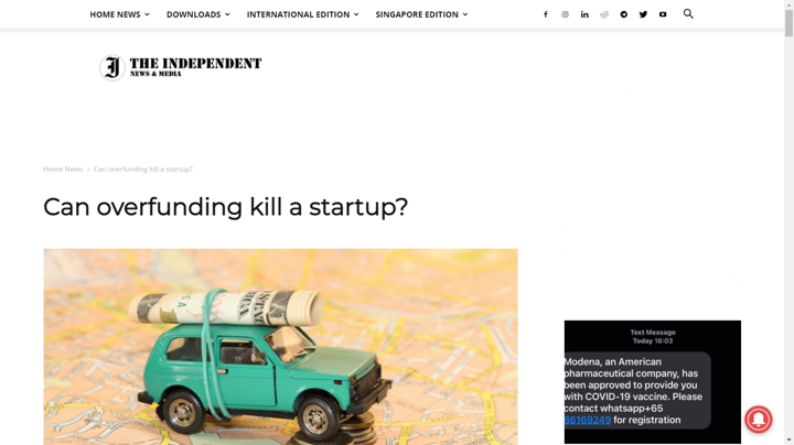 overfunding kills startup article