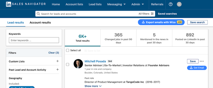 Using Wiza to capture emails of your prospects from your LinkedIn search