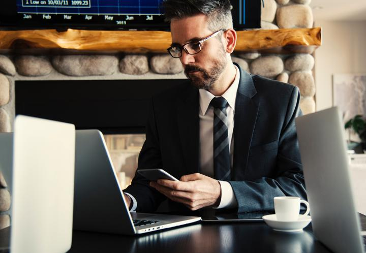Business man at computer