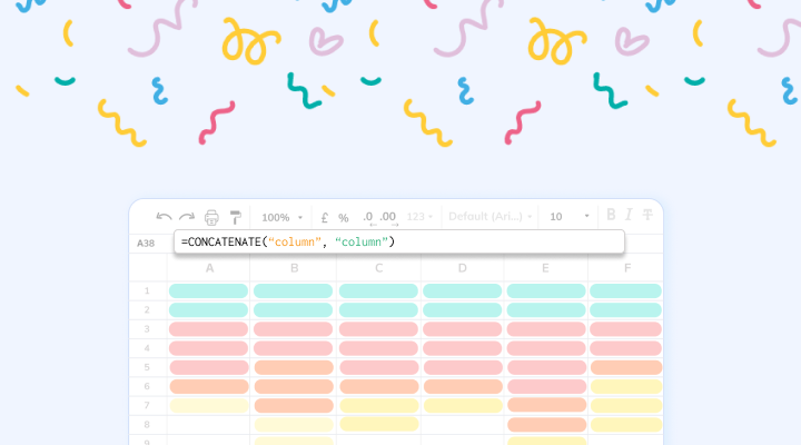 Merging cells and data inGoogle Sheets