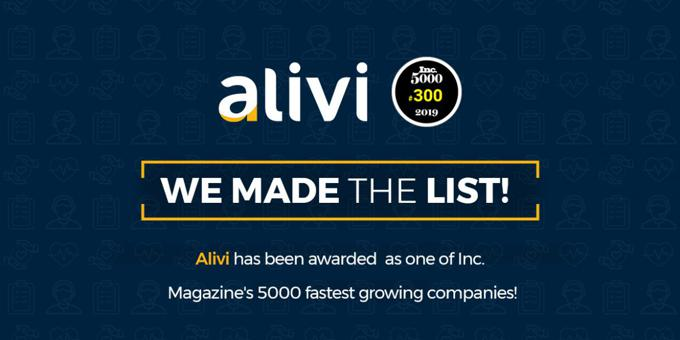 Inc. Magazine Ranked Alivi #300 in Its Annual List of America's Fastest-Growing Private Companies