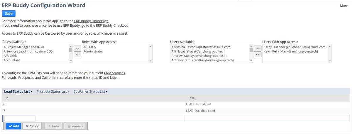 ERP Buddy Configuration Window