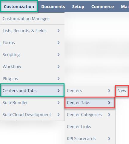 Center Tab NetSuite Navigation
