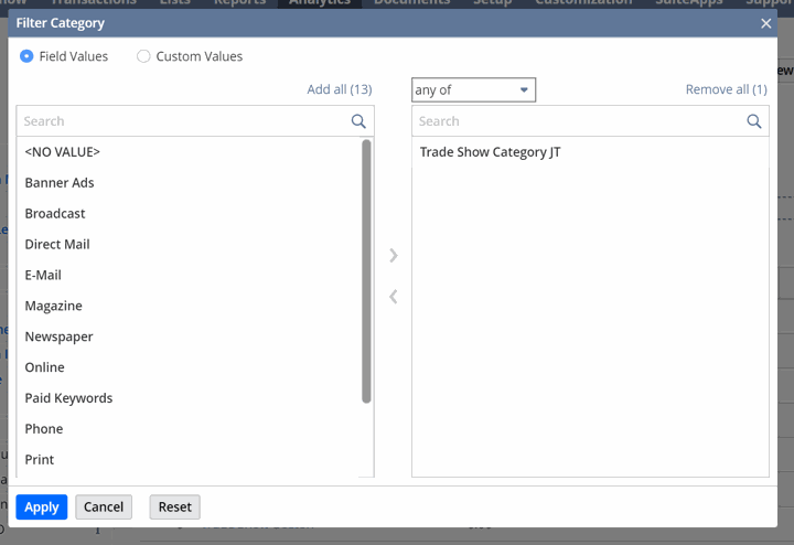 SuiteAnalytics filter category