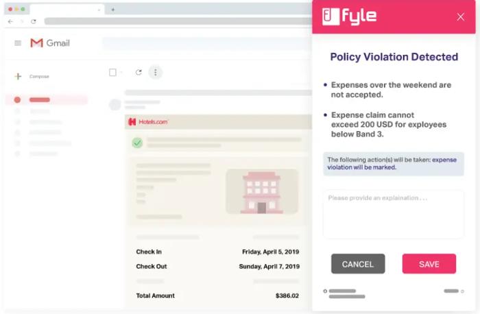fyle policy violation example
