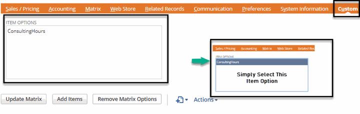item options in matrix item