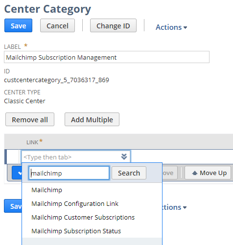 Search for Category in Center Link