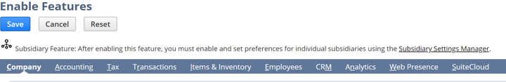 Enable Features in NetSuite