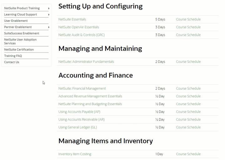 NetSuite training screenshot