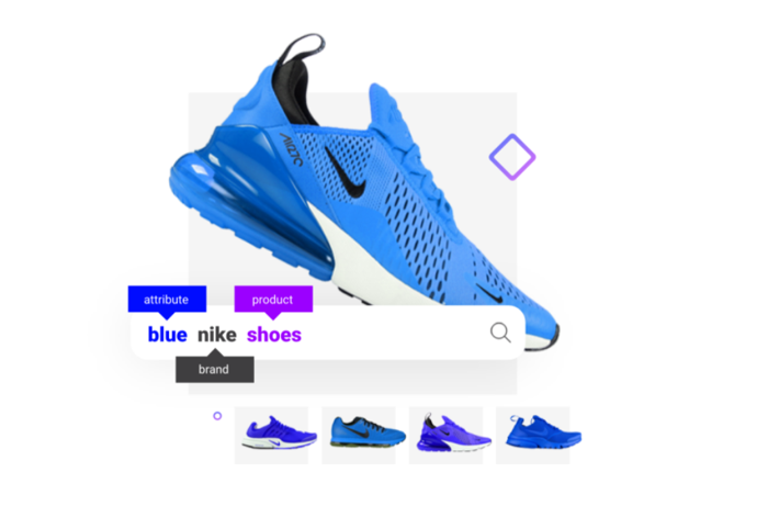Searchspring search for blue nike shoes