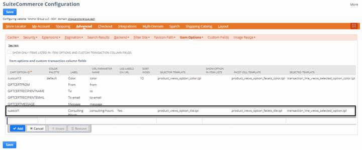 suitecommerce configuration item options