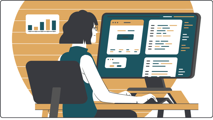Graphic of a woman at a computer monitor