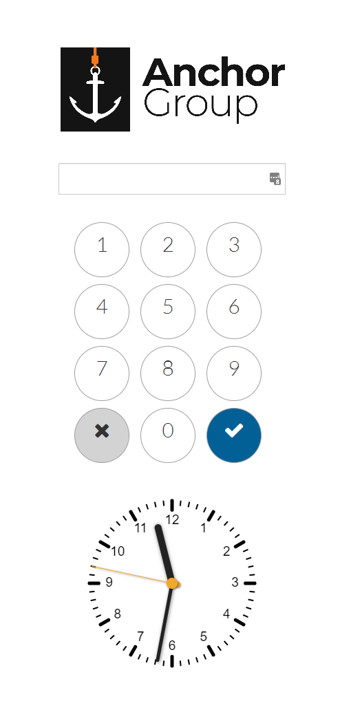 TimeClock login screen