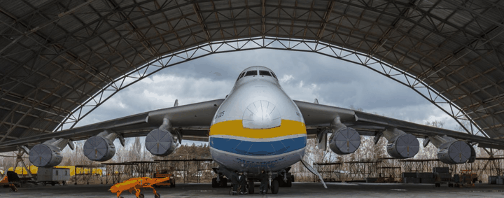 "The plane, nicknamed ""Mriya'"" (""Dream"" in Ukrainian), was developed by the Soviet Union in the late 1980s and was inherited by Ukraine and mothballed following its collapse. Credit: Anton Skyba."