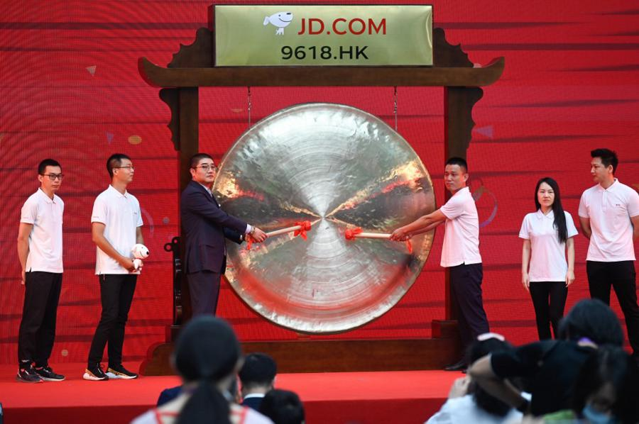 Chinese e-commerce giant JD soars on HK debut