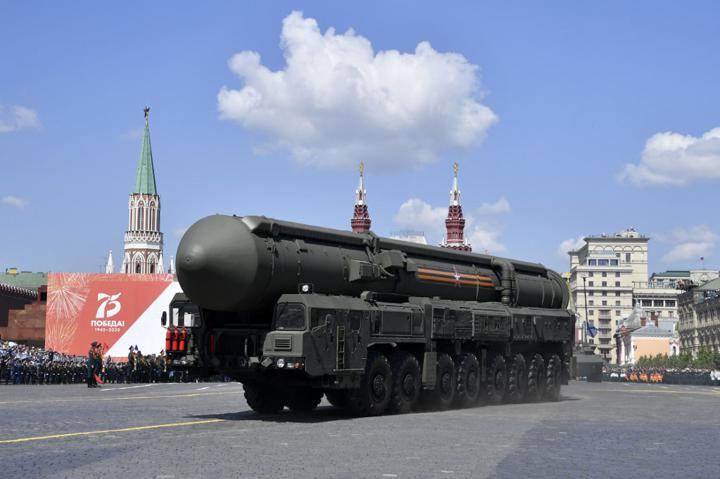 A Russian Yars RS-24 intercontinental ballistic missile is driven through Red Square during the parade marking the 75th anniversary of the Soviet victory over Nazi Germany in World War Two, in Moscow on June 24, 2020. Photo: Alexander Nemenov / AFP.