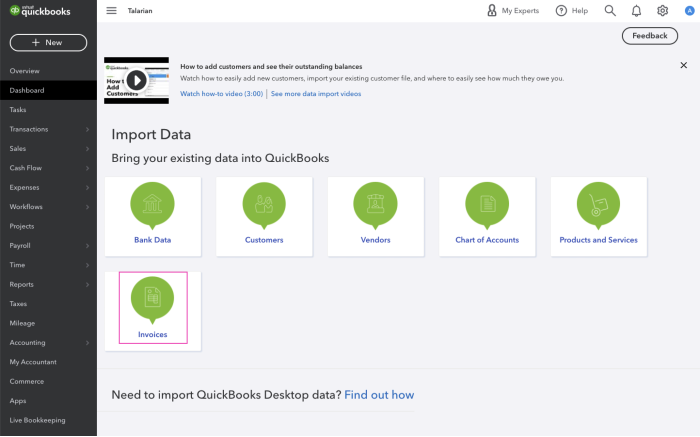 import invoices in QuickBooks