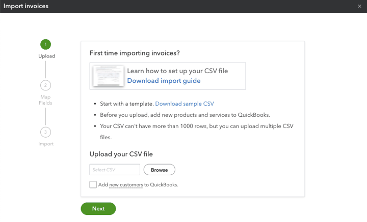 select a CSV to import