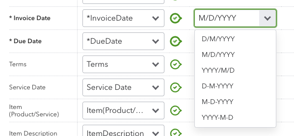 Date format selection for data import in QBO