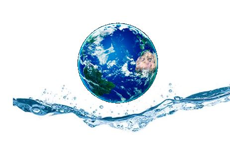 Picture of Earth with water splashing underneath it.