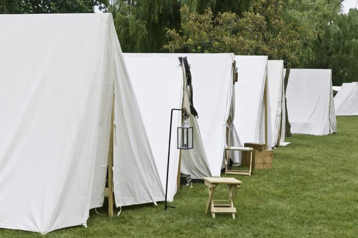 Row of white tents