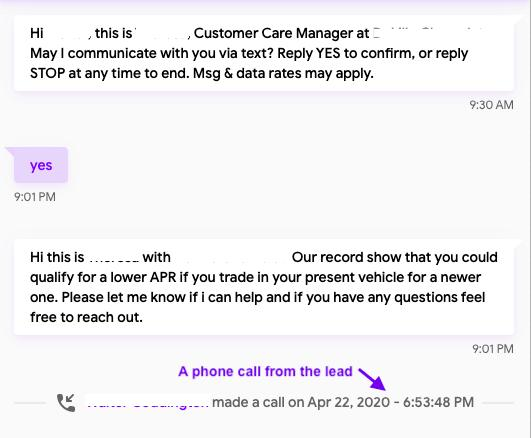 Automated SMS for Dealerships in action