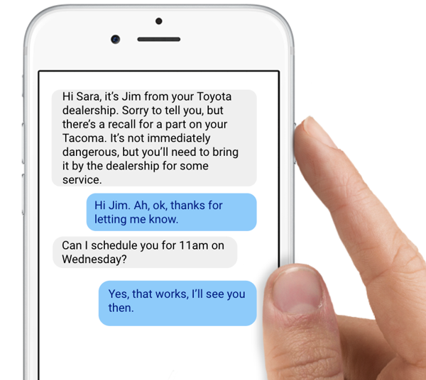 Automated text messages for recall and warranty