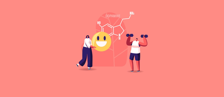 Dopamine image with smiley and person working out