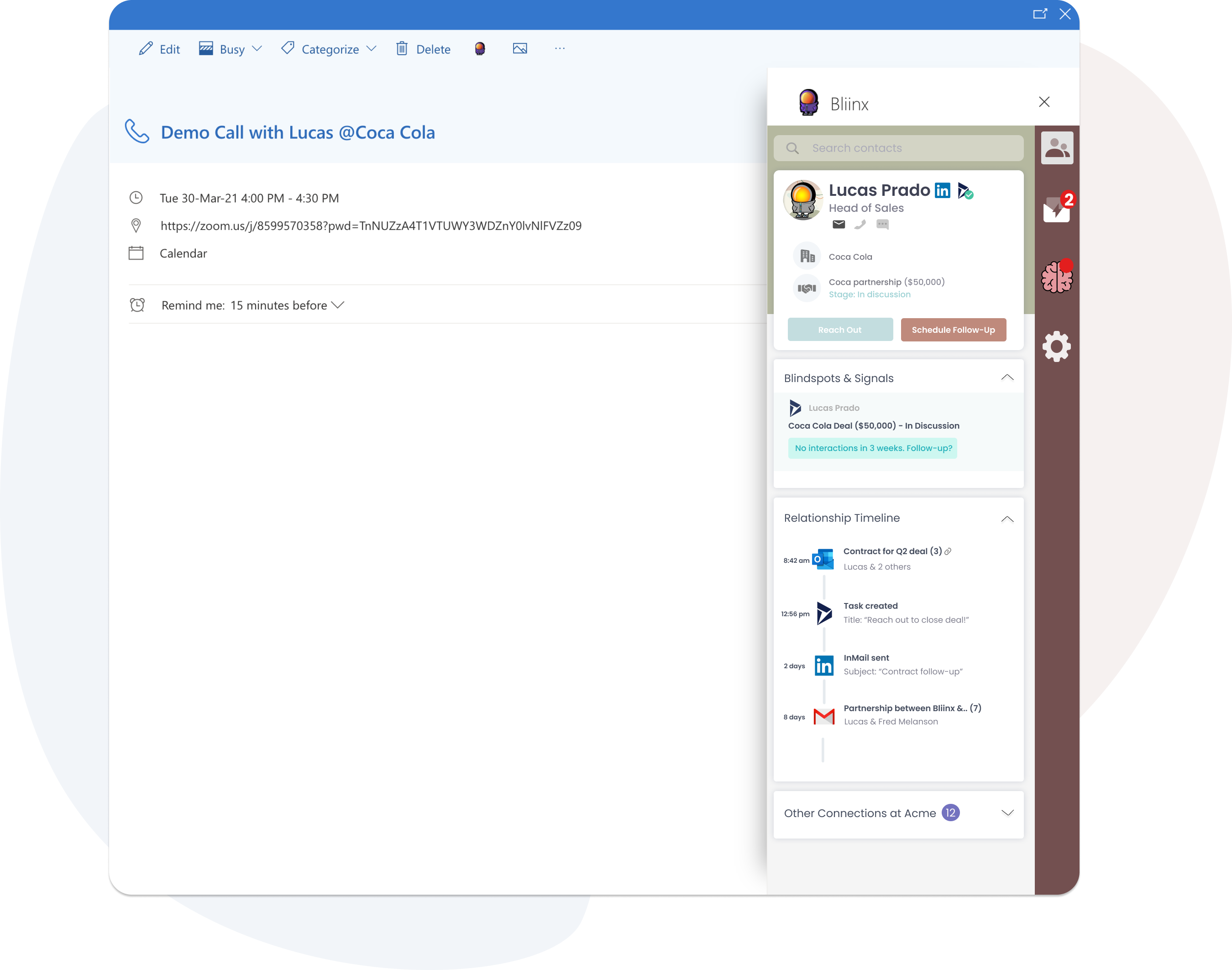 Bliinx app opened from an outlook meeting - Dynamics365
