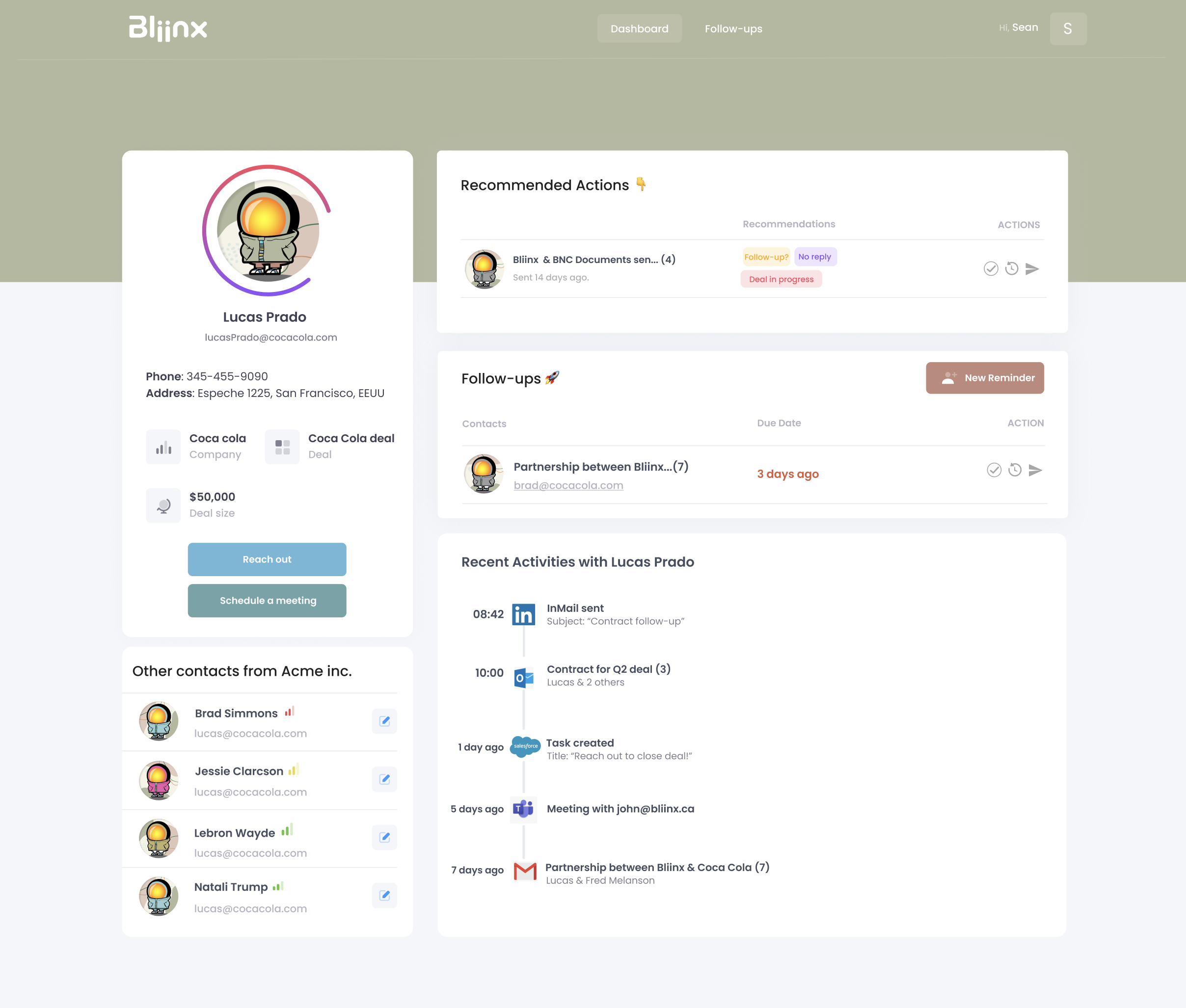 Bliinx Dashboard Contact Page