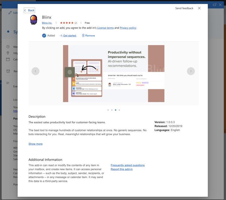 Install Bliinx from Outlook meeting