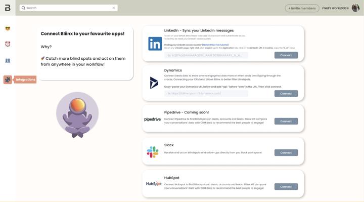 Bliinx integrations page