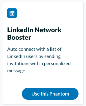 Phantom buster examples auto-connect LinkedIn