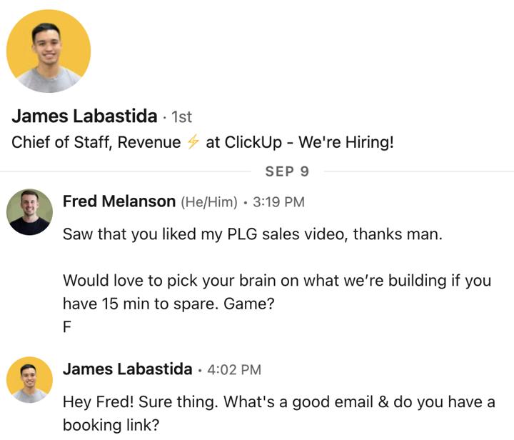 LinkedIn message template
