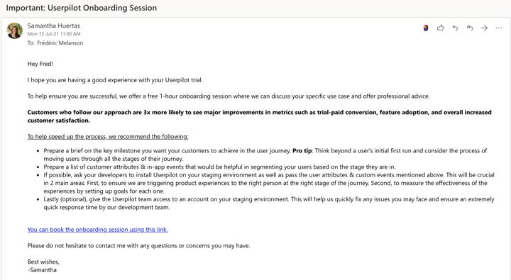 Userpilot email