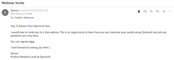 OpinionX webinar email