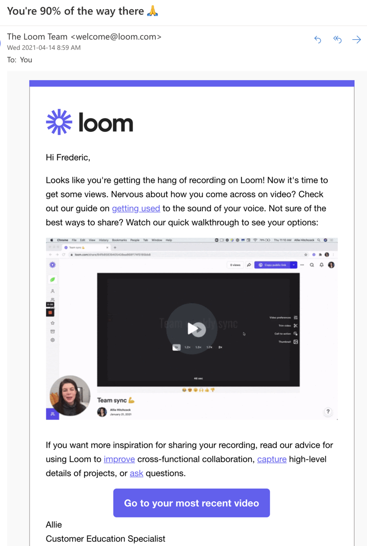 Loom email screenshot