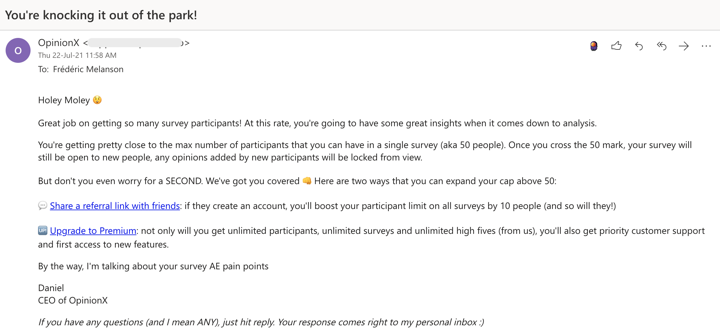 OpinionX email template