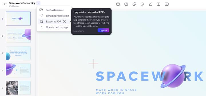 Pitch action pay wall in product