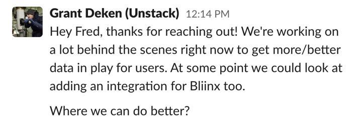 Unstack screenshot Slack