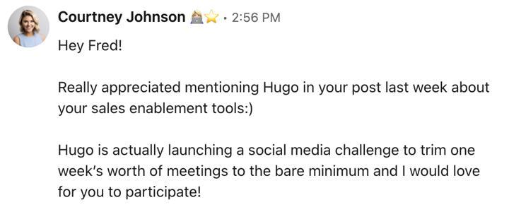 Hugo message linkedin