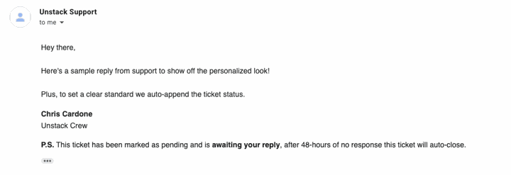 Zendesk Personal Looking Email