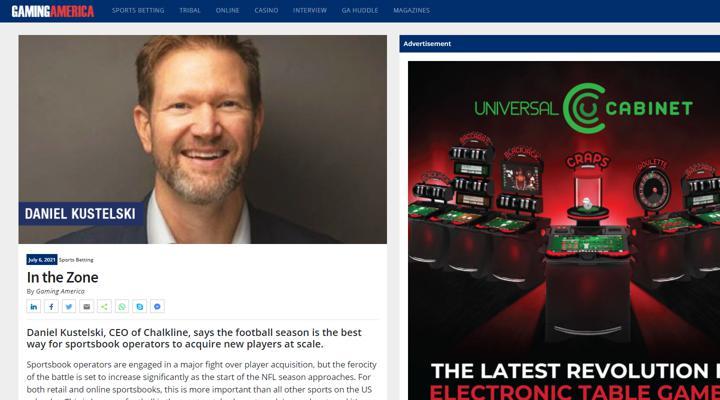 Chalkline Gaming America football season for sportsbook operators