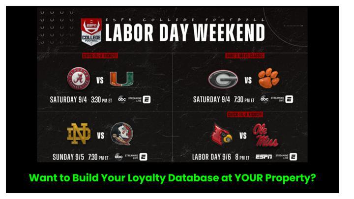 Chalkline webinar ESPN labor day weekend college football schedule