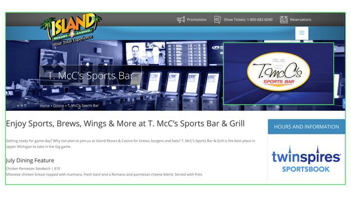 Chalkline webinar Island Resort and Casino sports bar website