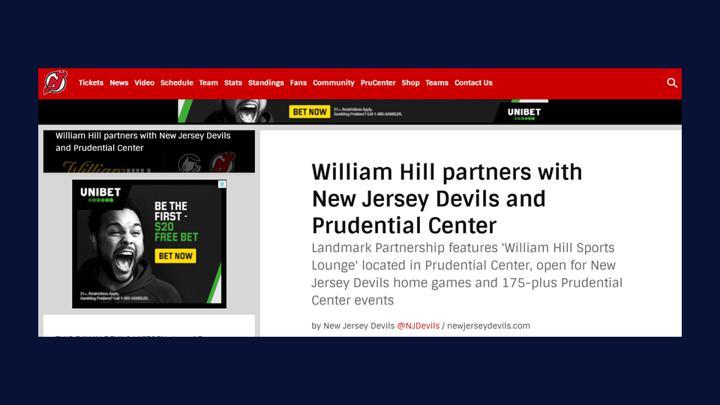 Chalkline Sports New Jersey Devils William Hill sponsorship