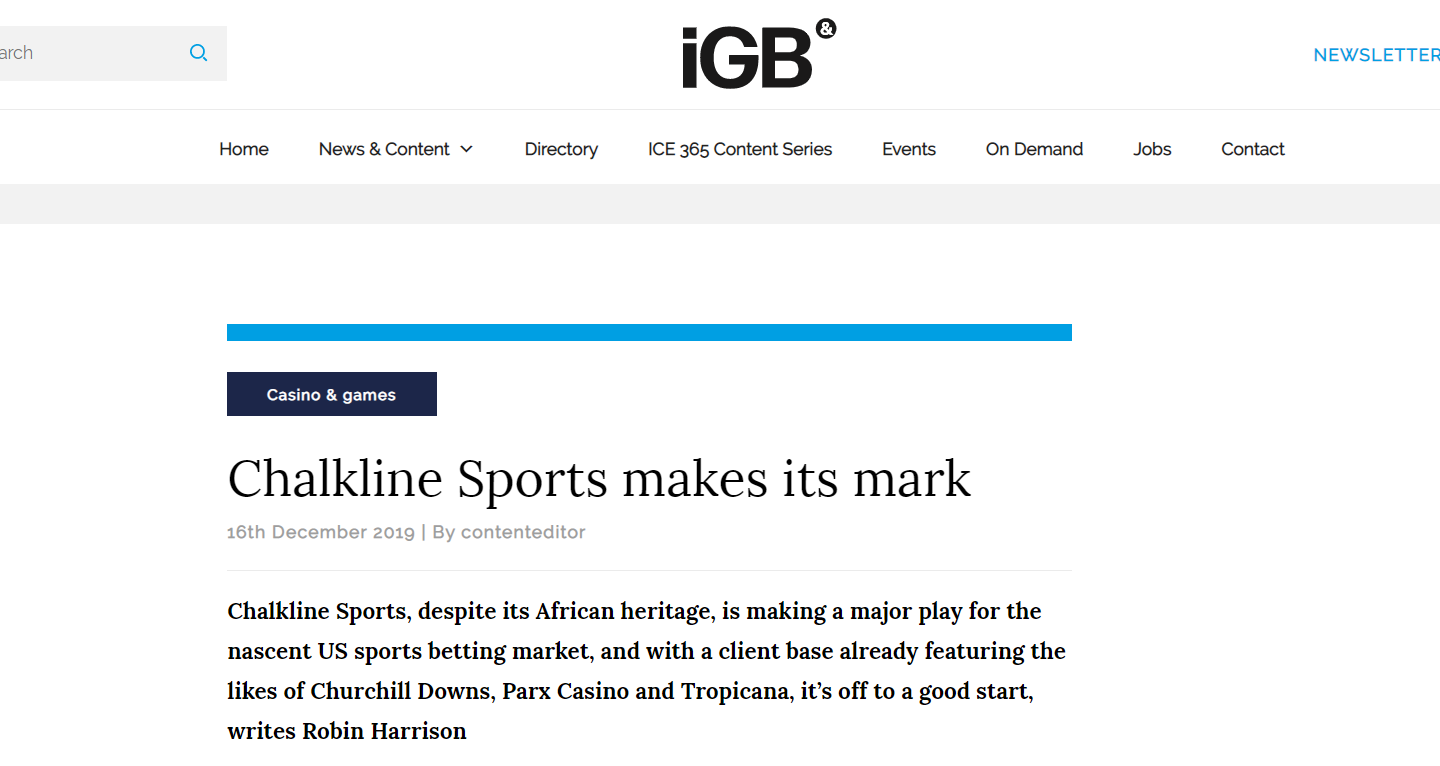 Chalkline Sports Featured in iGaming Business
