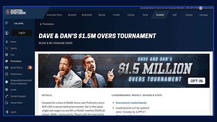 Chalkline webinar slide - Barstool Sports overs tournament